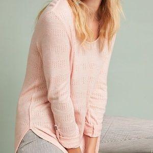AKEMI + KIN Pink Sylvie Pointelle Textured Top S